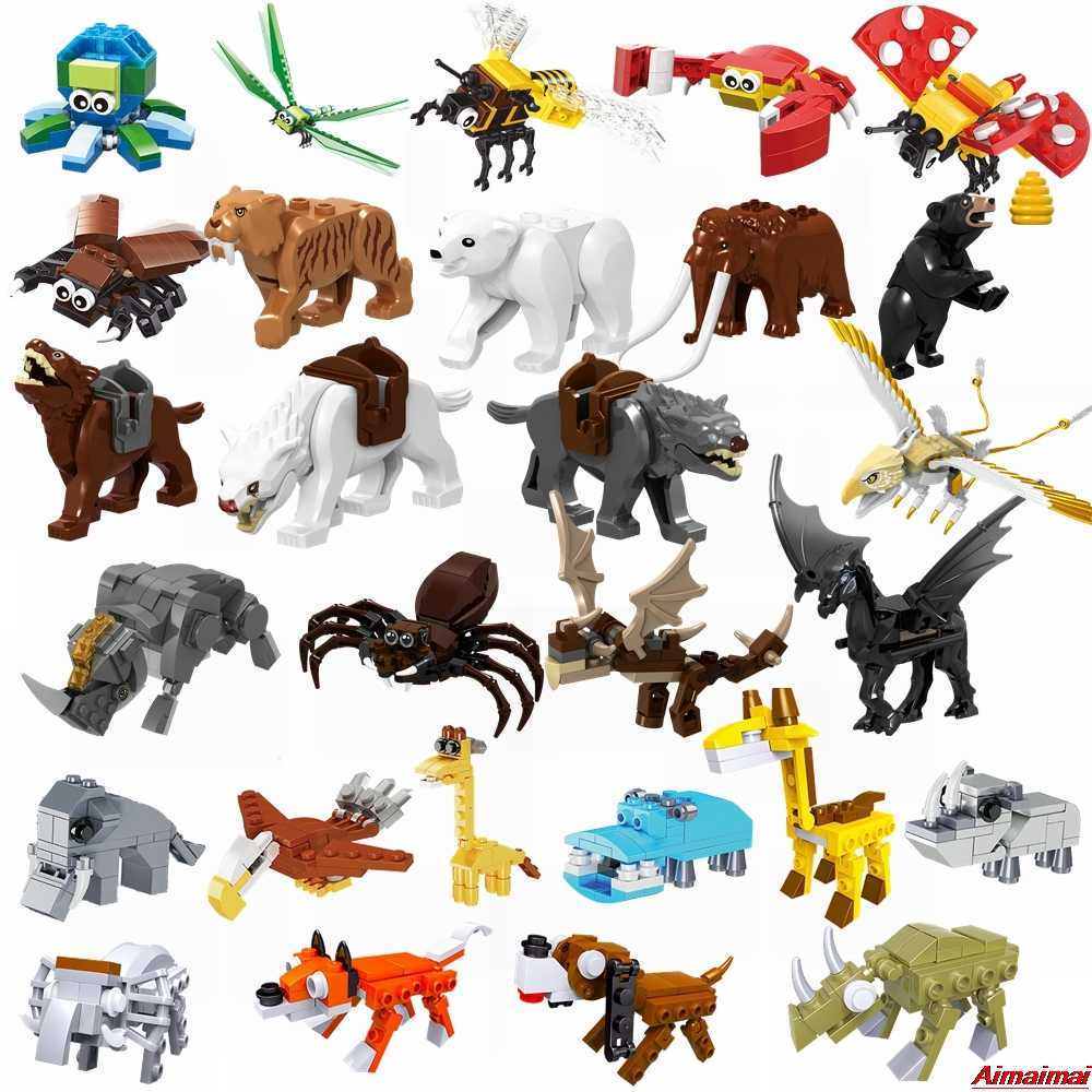 Legoing Animals Horse Wolf Octopus Dragonfly Honeybee Bear Dog Building Blocks Figures Kids Toys Gifts Animal Legoings Large Set