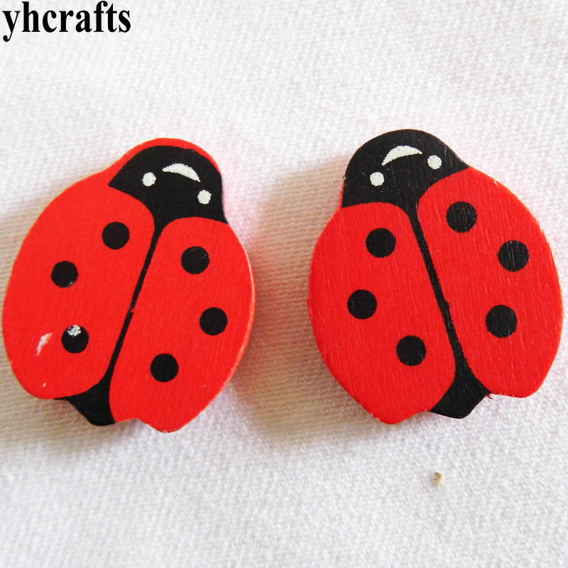 100pcs/lot,1red Ladybug Wood Stickers,school Kindergarten Ornament Kids Room Decoration Wall Fridge Stickers Spring Easter Toys Stickers
