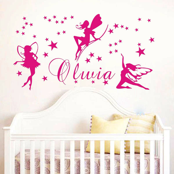 Fee Nom Personnalise Stickers Muraux Bebe Fille Chambre Murale Mur