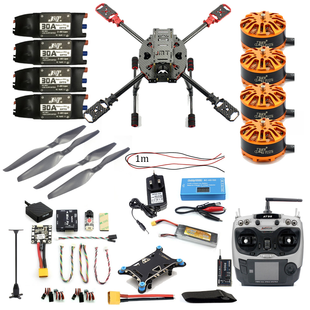 JMT Full Set DIY 2.4GHz 4-Aixs Airplane RC Copter 630mm Frame Kit MINI PIX GPS AT9S TX RX Brushless Motor ESC Altitude Hold Part rtf full kit hmf y600 tricopter 3 axis copter hexacopter apm2 8 gps drone with motor esc at10 tx