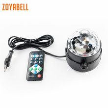 цены zoyabell RGB Led Disco Stage Party Light DJ Magic Rotating Ball Stage Remote Sound Control Laser Club Lamp Projector Lighting