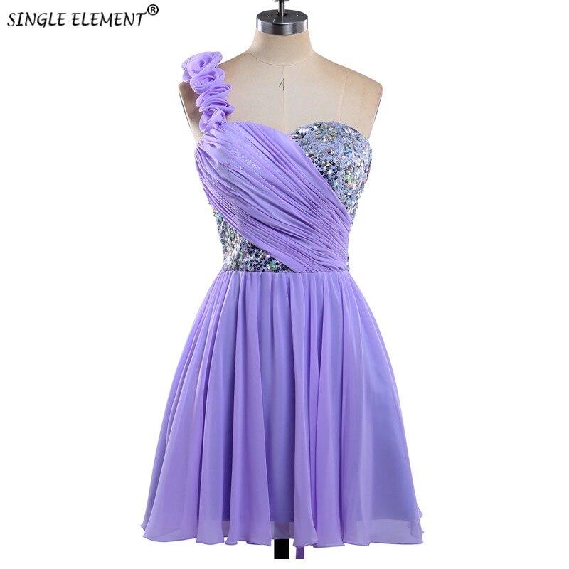SINGLE ELEMENT Custome Made One Shoulder Short   Bridesmaid     Dresses   Lace Up Back