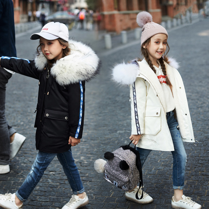 White Duck Down Coat Kids Girls Winter Jackets Fashion Thick Warm Hooded Jacket Large fur collar Girl's Long Down Coats JF347 цена
