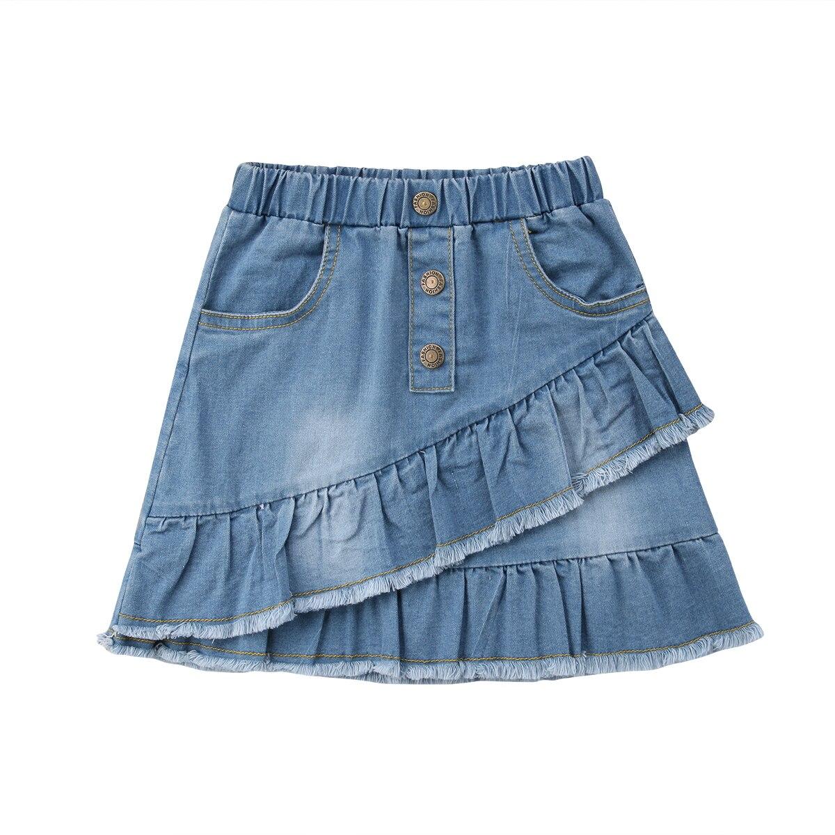 New Summer Fashion Toddler Kids Girls Blue Denim Mini Skirt Short Dress Jean Skirt Casual Mini Skirt