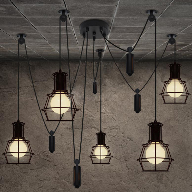 Vintage industrial Nordic Loft Edison Bulb Chandelier Retro Ceiling Spider Pendants Antique Adjustable E27 indoor Art Lights loft antique retro spider chandelier art black diy e27 vintage adjustable edison bulb pendant lamp haning fixture lighting
