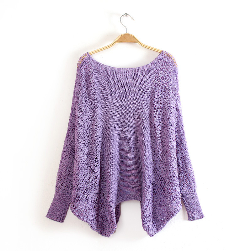 Knit O-Neck Long Sleeve Pullover Loose Sweater 4