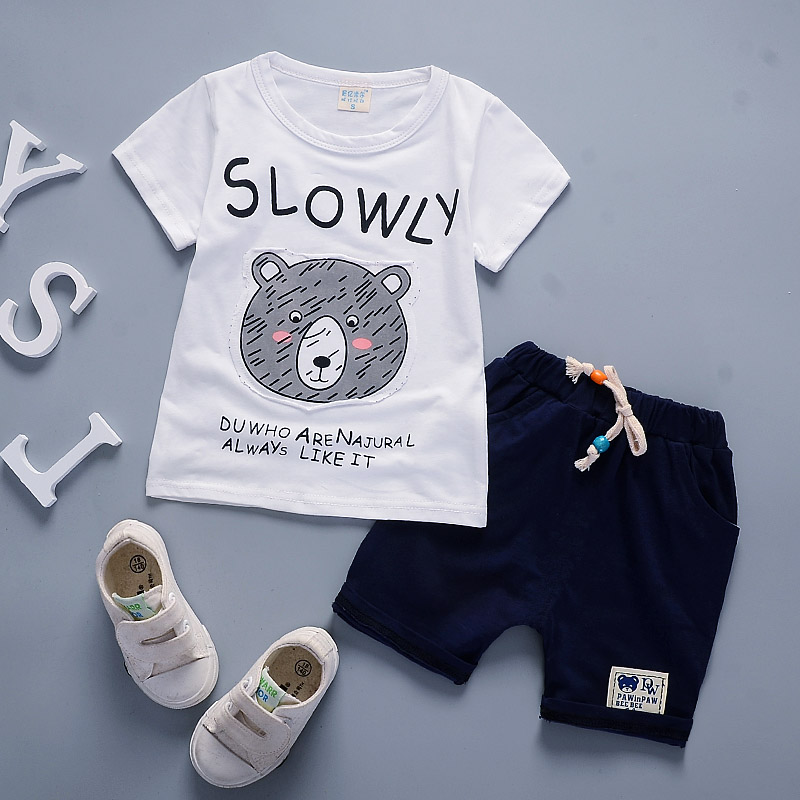 Новорожденных Милая модная летняя для мальчиков Милые Носки с рисунком медведя из мультика велосипед узор футболка с короткими рукавами Шо...