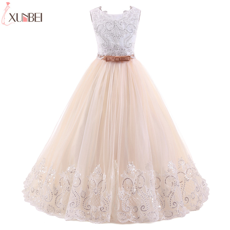 Real Photo Flower Girl Dresses Court Train 2019 Sequined Appliques Pageant Dresses For Girls Lace Communion Princess Dress