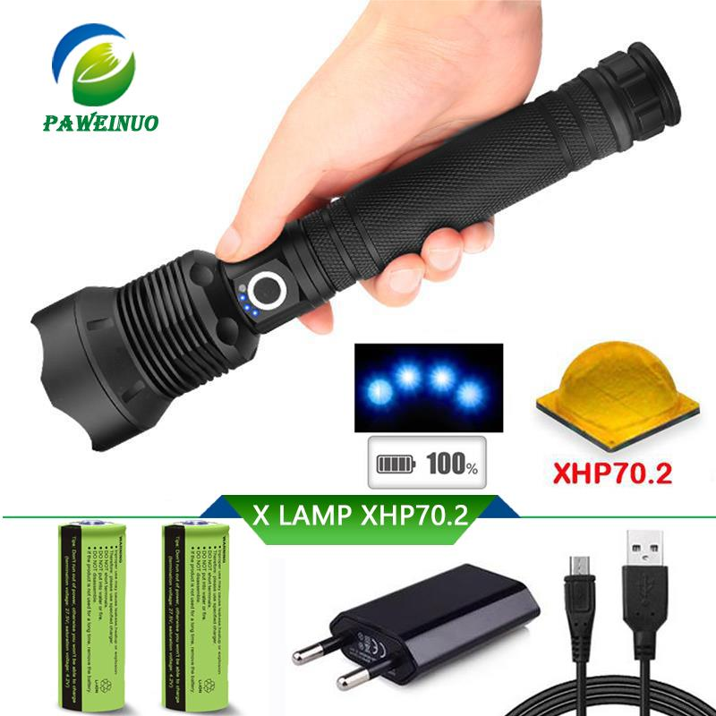 Bright Xhp70.2 Power Bank Usb Charge Torch Most Powerful Flashlight Xhp70 Long Range Military Flashlight 18650 Waterproof Lampe Torche A Great Variety Of Goods Led Lighting Led Flashlights
