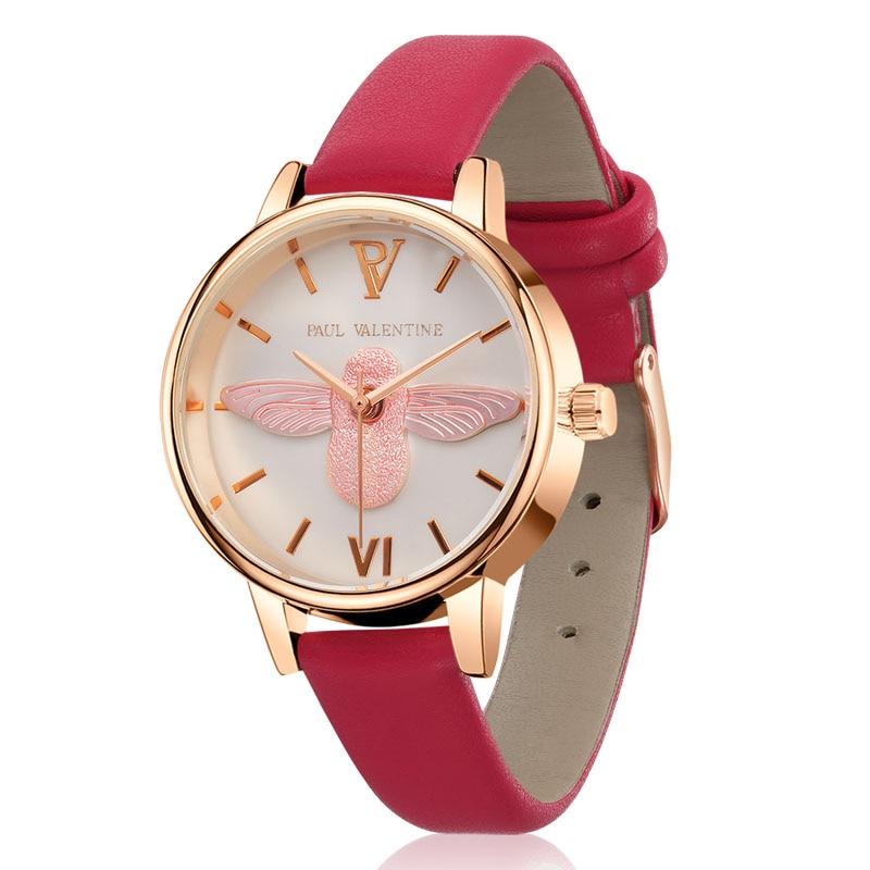 Fashion Women 3D little bee pattern Quartz Wristwatches Leather Quartz Watch Students Simple Leisure Small Female Watch