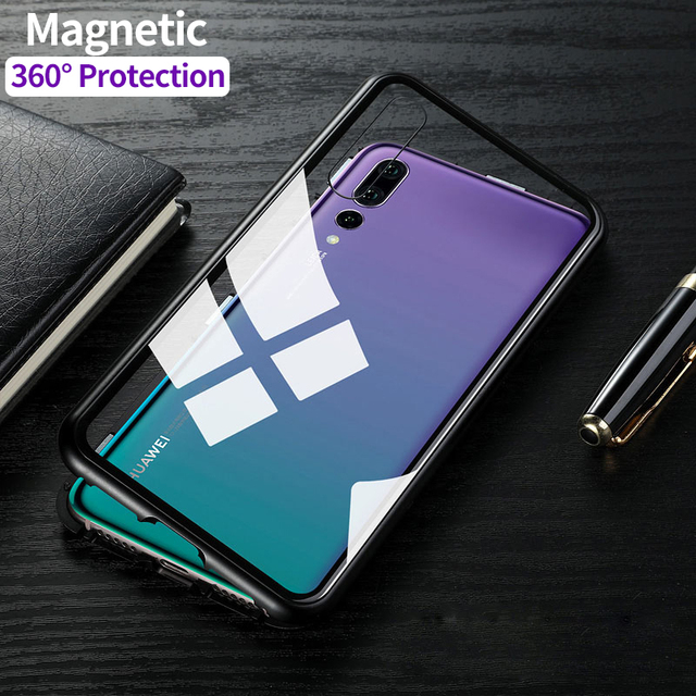 hot sale online 49a01 da7ce US $10.99 30% OFF|Magnetic Adsorption For Huawei P20 Pro Case 9H Tempered  Glass + Built in Magnet Case for For Huawei P20 Metal Ultra Cover-in Fitted  ...