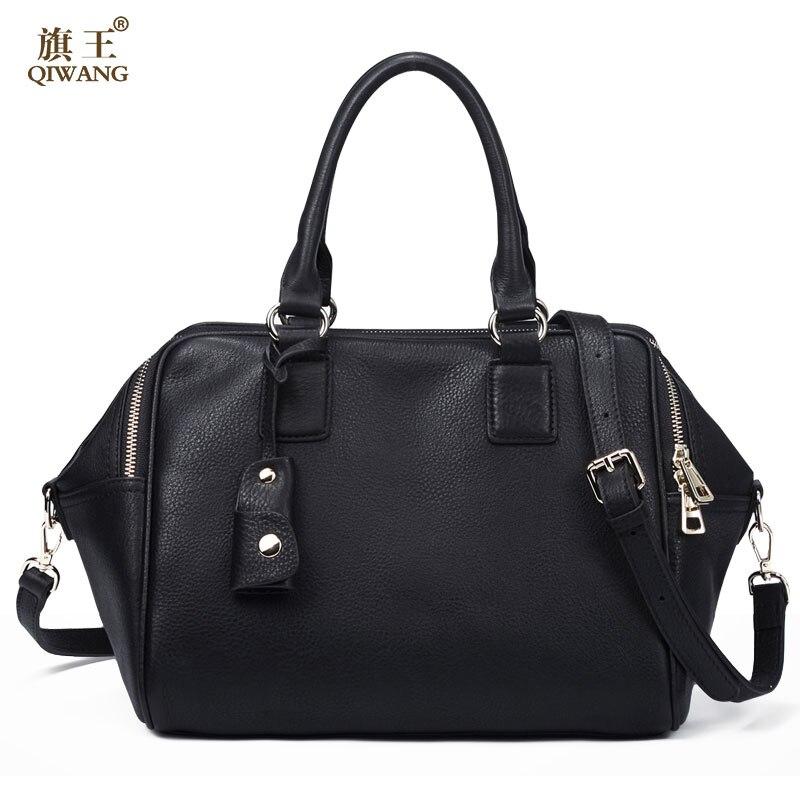 Qiwang Women Bag Gneuine Leather Handbags Big Women Bag High Quality Casual Female Bags Trunk Tote Spanish Brand Shoulder Bag