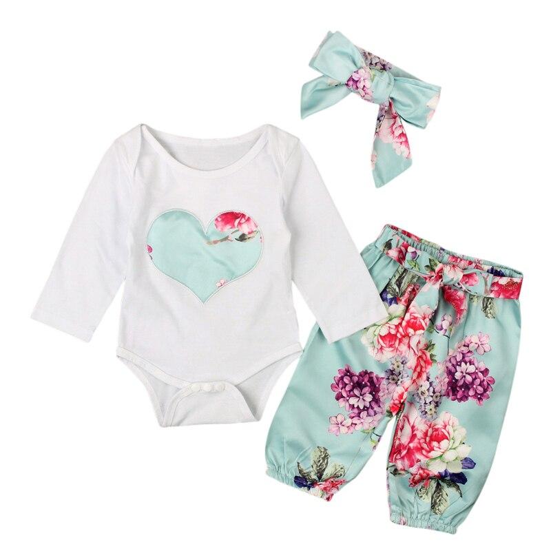 3 PCS Set Meninas Do Bebê Roupas Romper Primavera Outono Criança Coração Bordado Tops + Calça Floral Outfits Crianças Roupas Menina conjunto