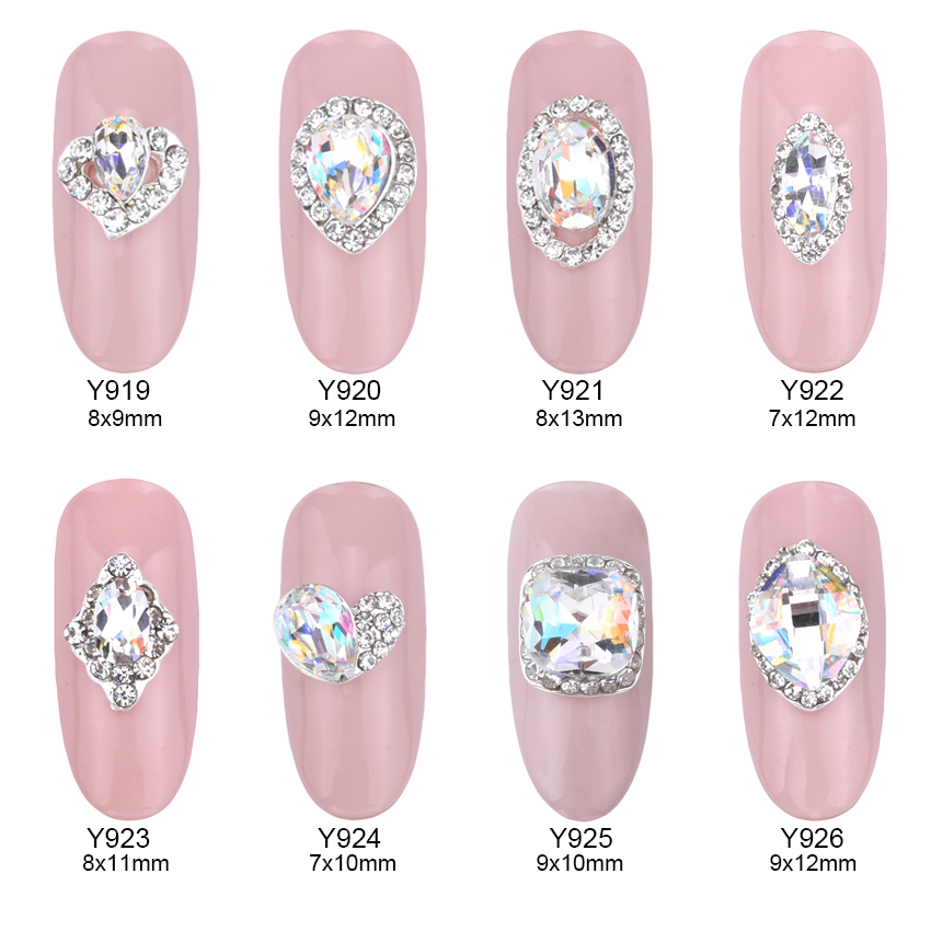 10pcs Crystal strass nagel decorative nail art rhinestones alloy 3d decorations glitter nail jewelry manicure accessories Y919 glass mix rhinestones for nails rhinestones manicure strass nail art decorations 3d nail jewelry nagel steentjes mjz0034