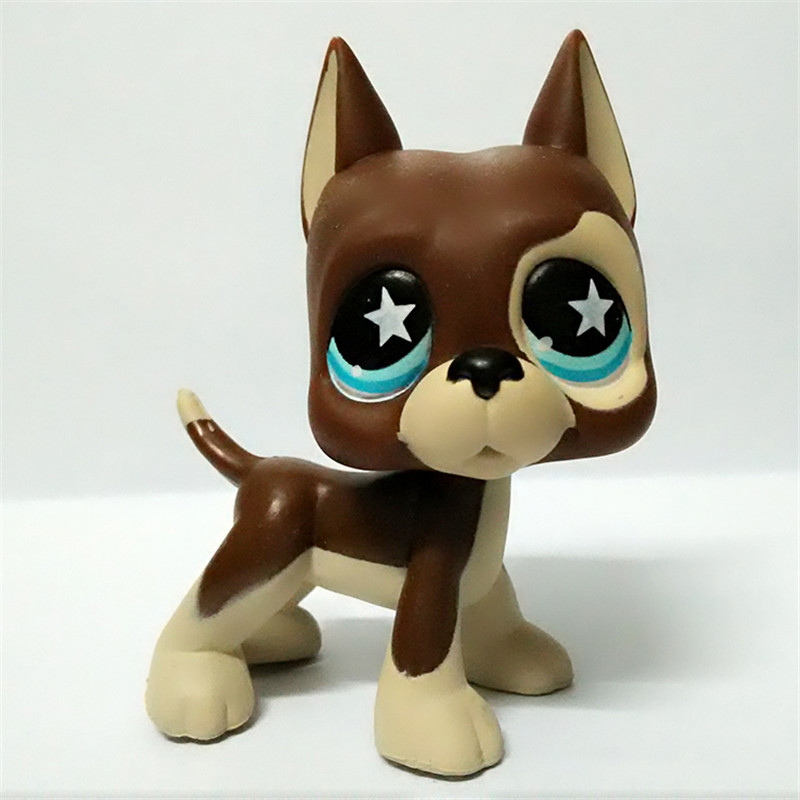 Pet Shop lps GREAT DANE brown dog star eyes Rare old collections figure toys Free Delivery 6cm lps toy pet shop cute beach coconut trees and crabs action figure pvc lps toys for children birthday christmas gift