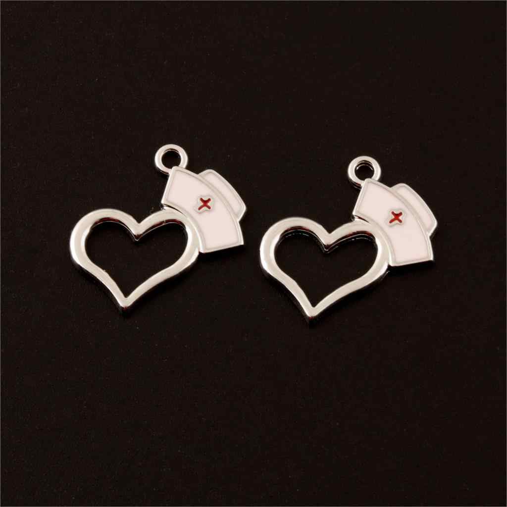 10Pcs Antique Silver Heart Shape Nurse Cap Charms Medical RN Hat Pendant Making Necklaces Bracelet Diy Supplies 20X20mm A306