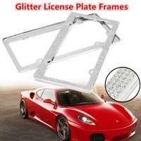 2pcs Silver Glitter Bling Crystal Rhinestones Metal License Plate Frame Front Rear