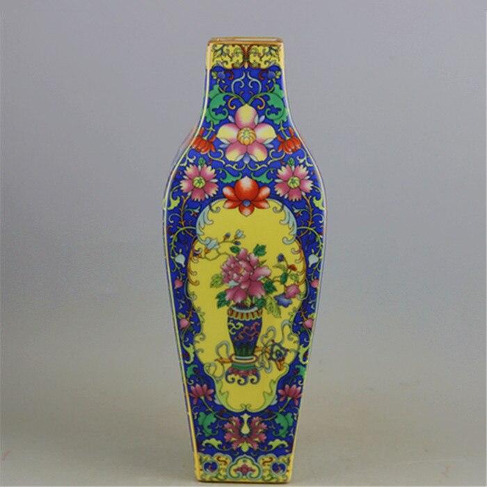Jingdezhen Antique Vase carré en émail avec motif de fleurs et d'oiseaux Antique porcelaine Ming et Qing