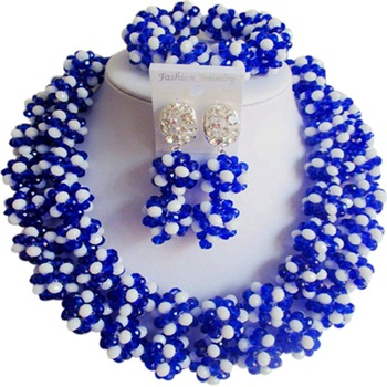 Pretty Royal Blue Opaque White African Hyperbole Crystal Party Jewelry Sets for Girls 2C-SJHQ-07