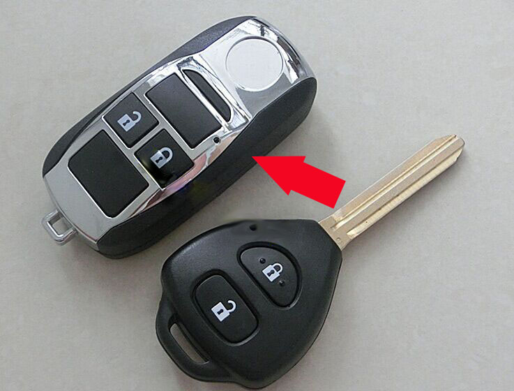 2 Buttons Modified Folding Flip Remote Key Shell Case For Toyota Camry Corolla RAV4 Reiz Fob Key Cover