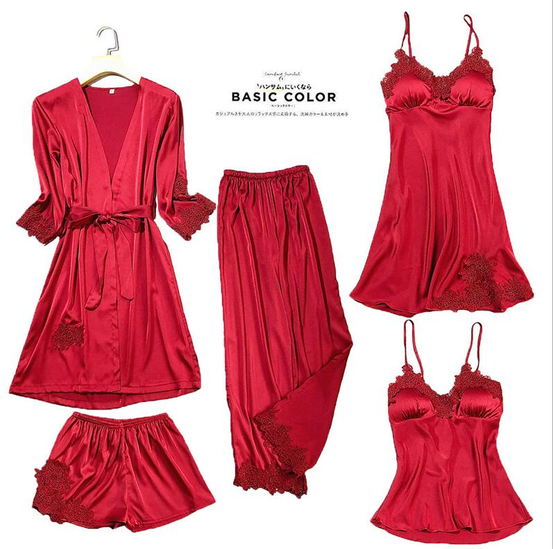 Женские пижамы, 5 шт., атласная пижама, шелковая Домашняя одежда, домашняя одежда, вышивка, Пижама для сна, для отдыха, пижама с нагрудными накладками - Цвет: Красный