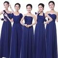 2016 Caliente Azul Marino dama de Honor Vestidos de Gasa Piso-Longitud Sin Tirantes Baratos Vestidos de Dama de Under 50 Royal Azul Dama de Honor Dre