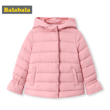 Balabala 2018 Jackets parka For Girls Boys cotton Coats Printed Winter Warm Girls Down Jacket Children Clothing Cotton Hooded(China)