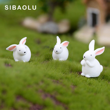 5pcs White Rabbit figurine cartoon Animal Model Moss landscape Resin Craft home miniature fairy garden decoration accessories