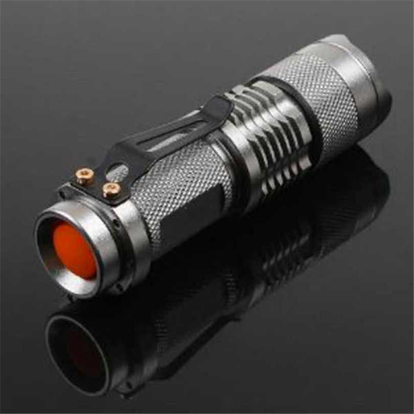 7W 300LM Mini LED Flashlight Torch Adjustable Focus Zoom Light Lamp Silver powerful led flashlight laser pointer #4S19 (2)