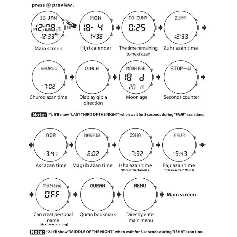 Sporting Watch for Muslim Prayer with Adhan Alarm Qiblah Compass Hijri Calendar and Stopwatch