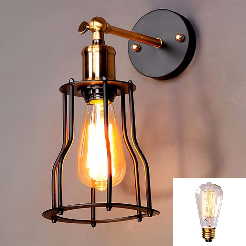 American Retro Rustic Industrial Loft -Style Restaurant Bar Night club Creative Iron Wall Sconce Lamps droplight with bulbs