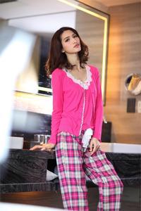 Image 3 - Spring 100% cotton 3 piece suits pyjamas women cozy Long sleeve pajamas sets simple sexy sleepwear pajamas for women Hot sale