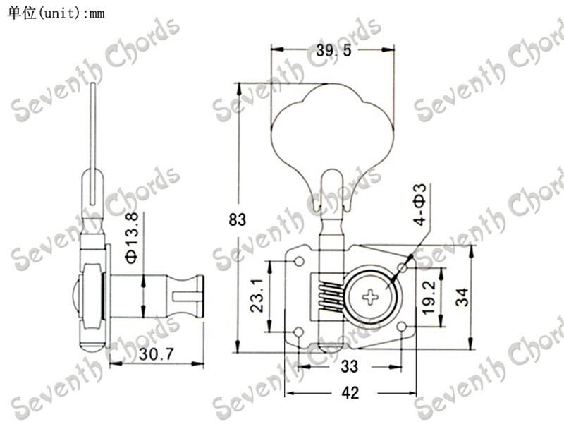 A Set 5 Pcs Open Gear String Tuners Tuning Pegs Keys Machine Heads