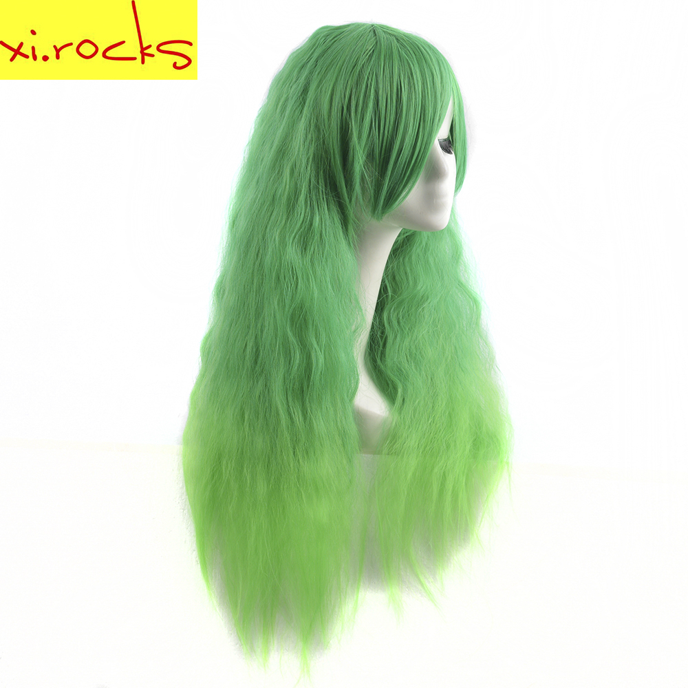 Xi.rocks New Fashoin Green Long Curly Wigs High Temperature Fiber Party Hair Wig Cosplay Wig For Women