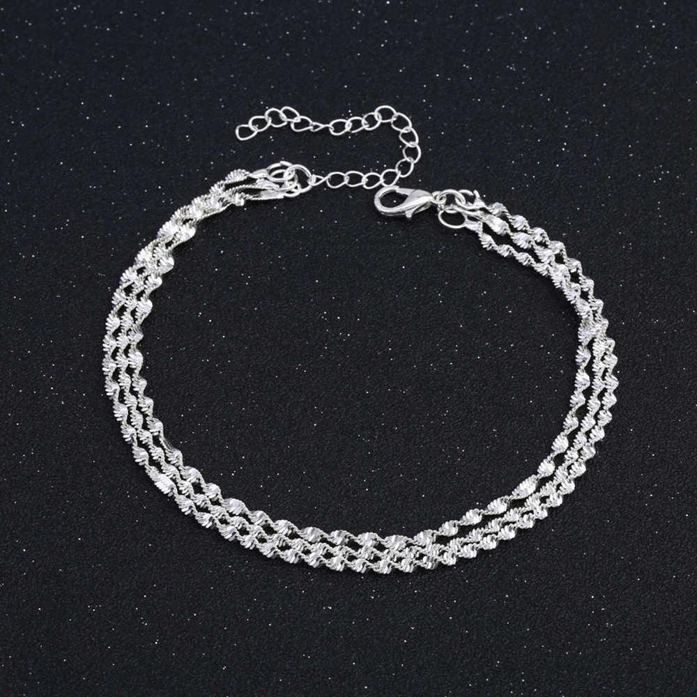 Snake Chain Leg Bracelet for Women 3 Layers Ankle Bracelet Female Feet Jewelry Accessories Alloy Anklets Beach Wear