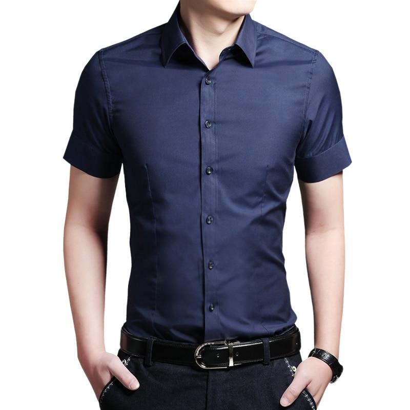 Men 39 s 100 cotton short sleeve shirt men solid slim fit for Mens 100 cotton button down shirts