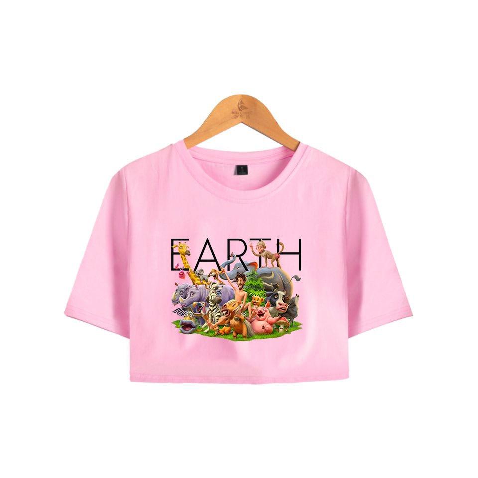 cabee468e702 Лил Дикки земли открытый пупок футболки Новый Для женщин розовые Топы  модный принт Лил Дикки земли футболка летние Для женщин s/футболка для.