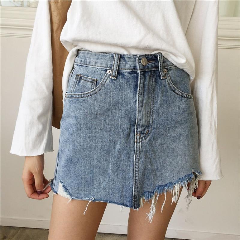 Summer Women Pencil Skirt High Waist Washed Skirts Irregular Edges Denim Jupe All Match Mini Saia A-Line Skirts
