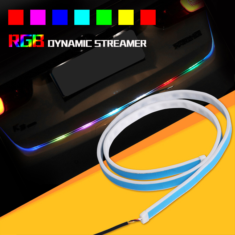RGB under luggage Car Led truck Strip Lights with Side Turn Signals flow led strip trunk light For BMW HONDA Nissan Mazda Toyota