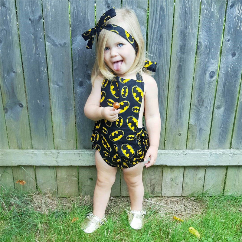 9c5dbb3d4e9d2 US $3.69 16% OFF|New Newborn Batman Romper Baby Girl Infant Clothing  2pcs/Sets 2017 Sleeveless Romper Halter jumpsuit+Headband-in Rompers from  Mother ...