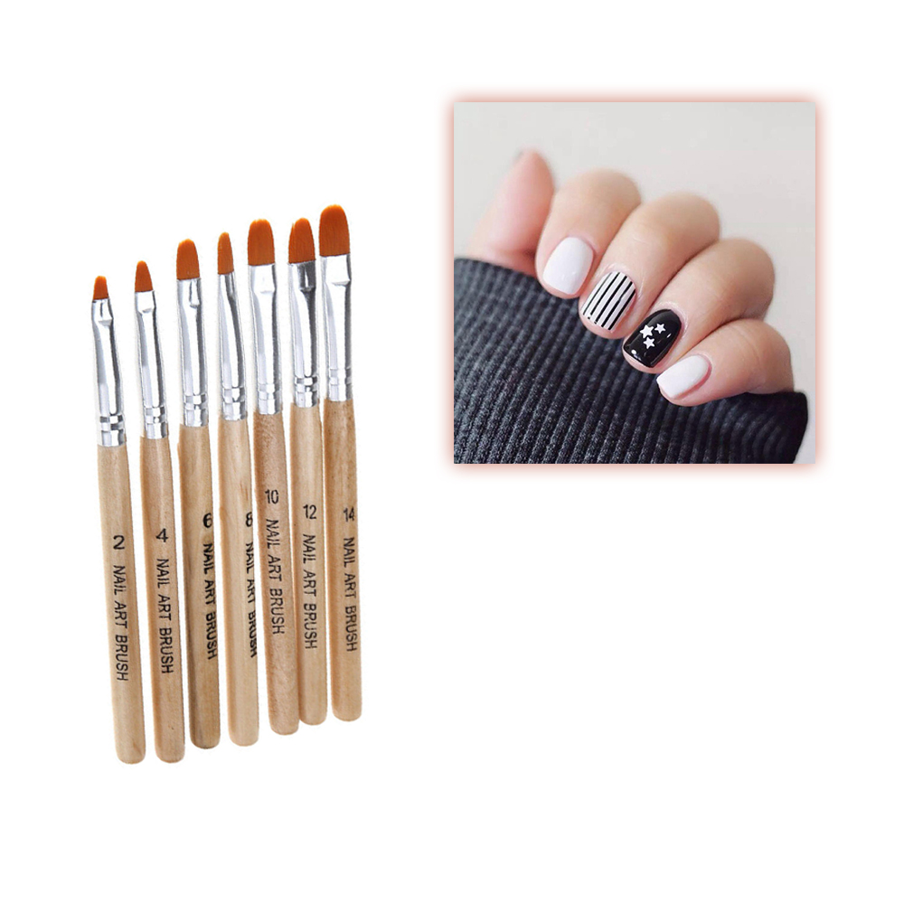 7pcs Drawing Nail Brush Wood Handle Nylon Hair Ombre Brush UV Gel Painting Pen Black White Red Manicure Tool in Nail Brushes from Beauty Health