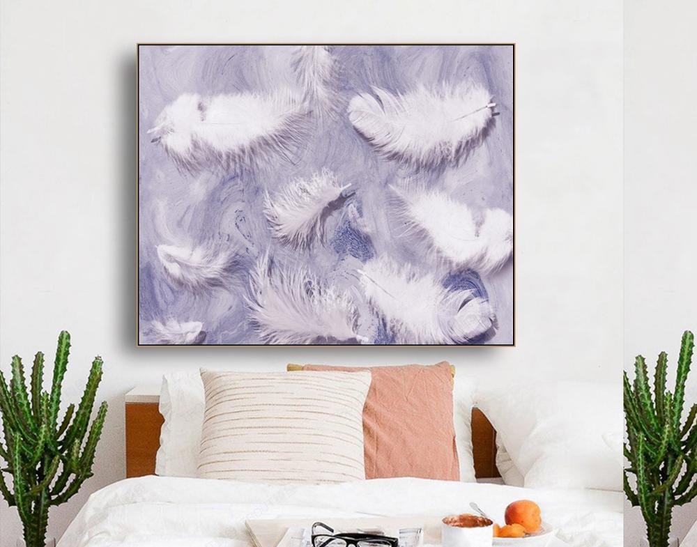 White Feather Abstract Simplicity Wall Art Canvas Painting Calligraphy Poster Print Decor Picture for Living Room Home Decor in Painting Calligraphy from Home Garden
