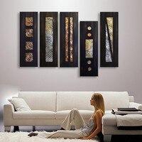 Gran 5 unidades imágenes Sets hecho a mano pintura al óleo abstracta pintada a mano del arte de la lona negro geométrico pinturas para sala