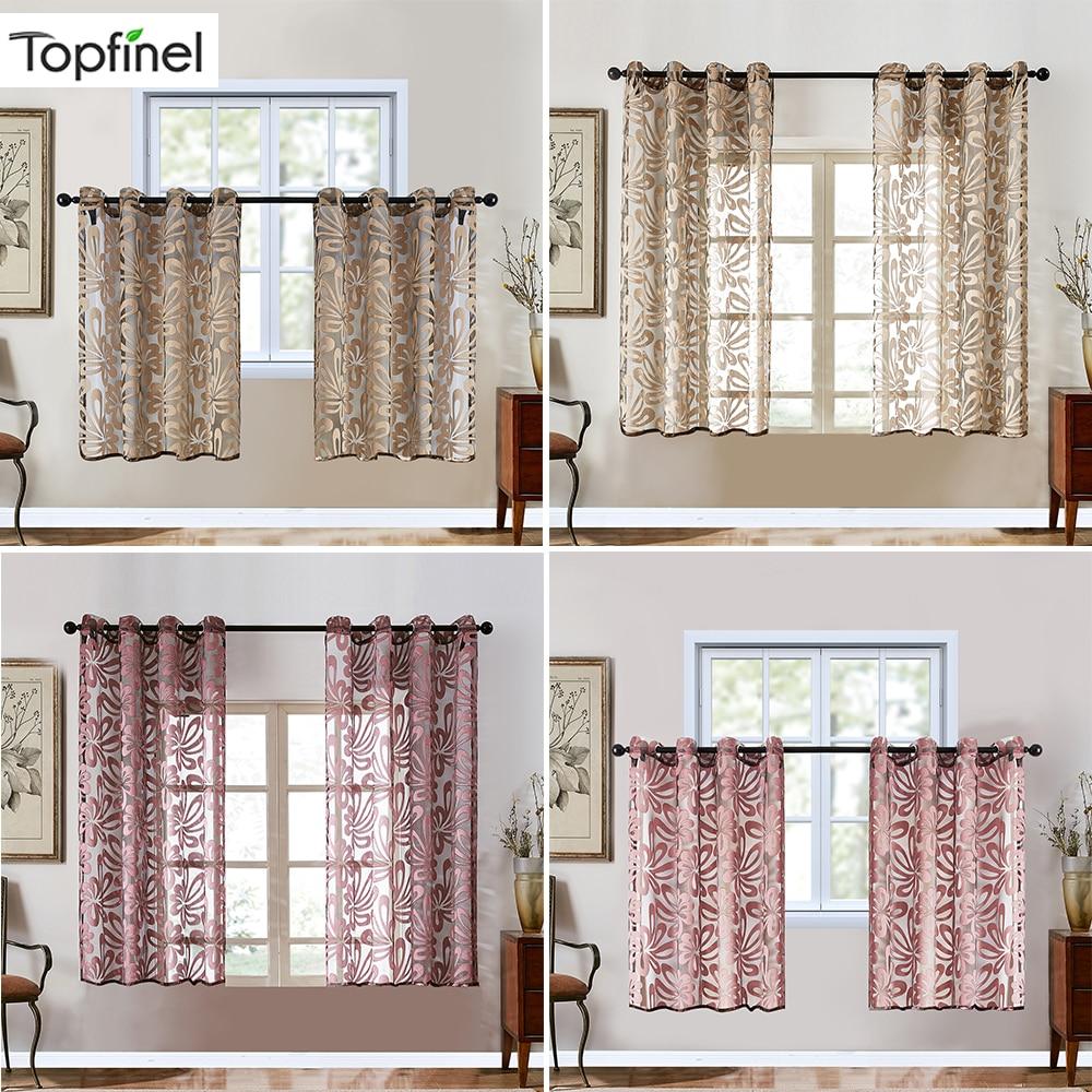 TopFinel Geometric Modern Short Curtains Panels  Jacquard Door Curtains Floral Home Decor Sheer Panel Window Treatment Drapes