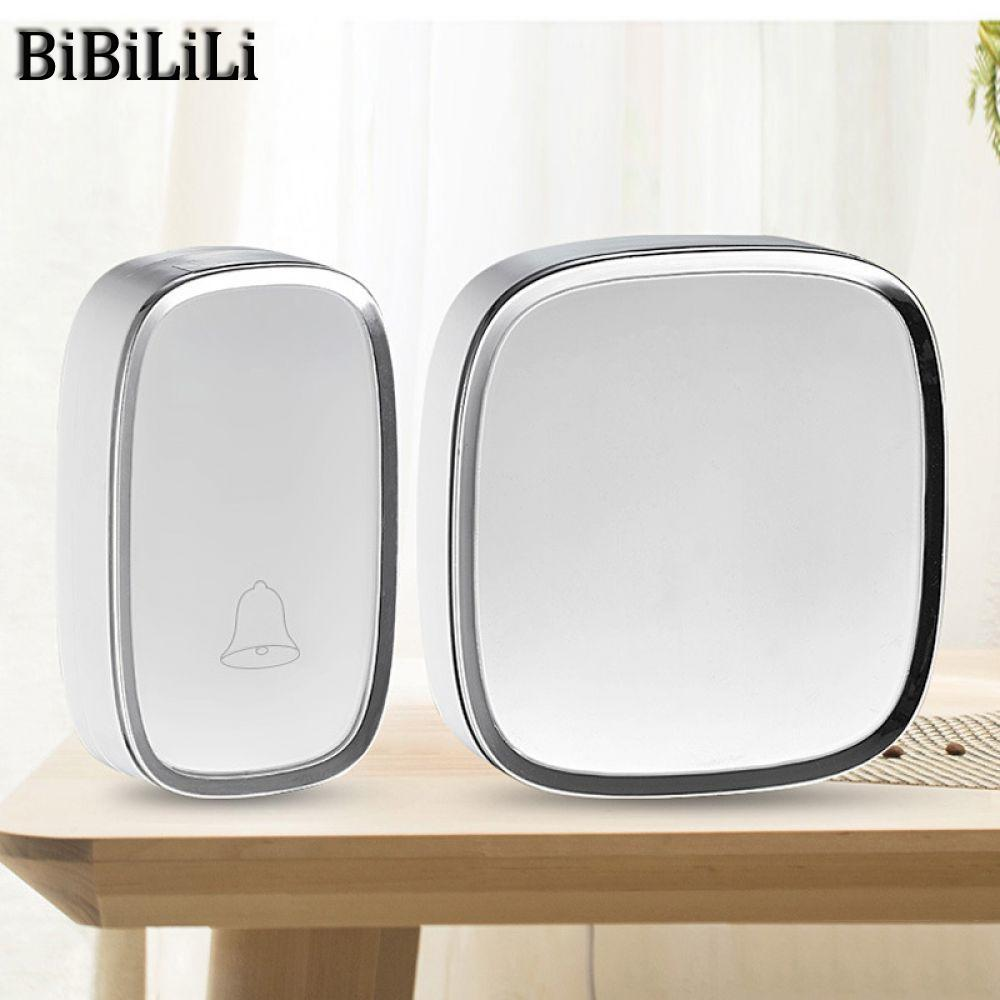 White EU Plug Wireless Doorbell Waterproof Smart 36 Melody Led Ring Door Bell AC220V 1 Push Doorbells Button +1 Receivers