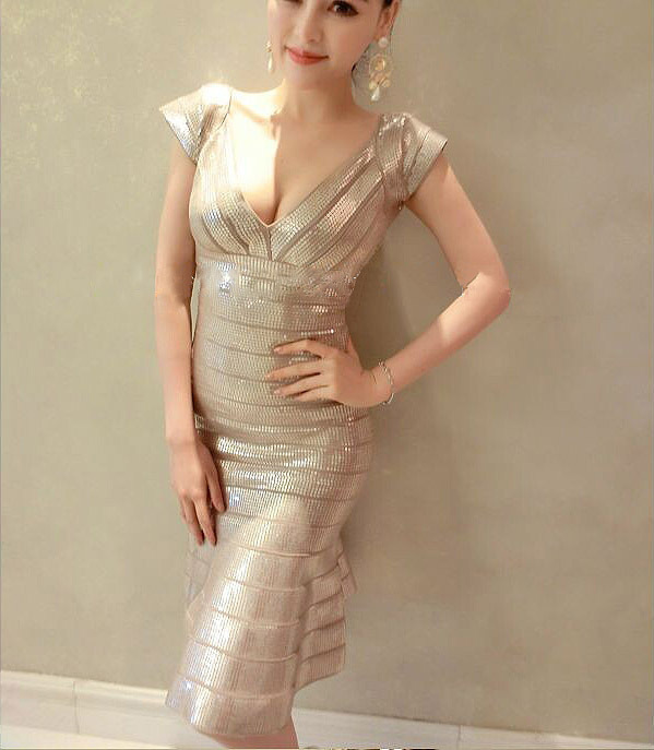 Popular Gold Sequin Bandage Dress-Buy Cheap Gold Sequin Bandage ...