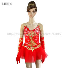 Figure Skating Dress Customized Competition Ice Skating Skirt for Girl Women Red long sleeved gold pattern Shiny rhinestone(China)
