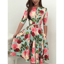 hirigin Autumn Women Floral Bandage Bodycon Long Sleeve Mid-Calf Dress With Belt Party Cocktail Casual Dress