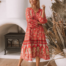 TEELYNN boho dress sexy V-neck long sleeve 2019 red floral print rayon women dresses loose Gypsy dresses beach wear chic vestido
