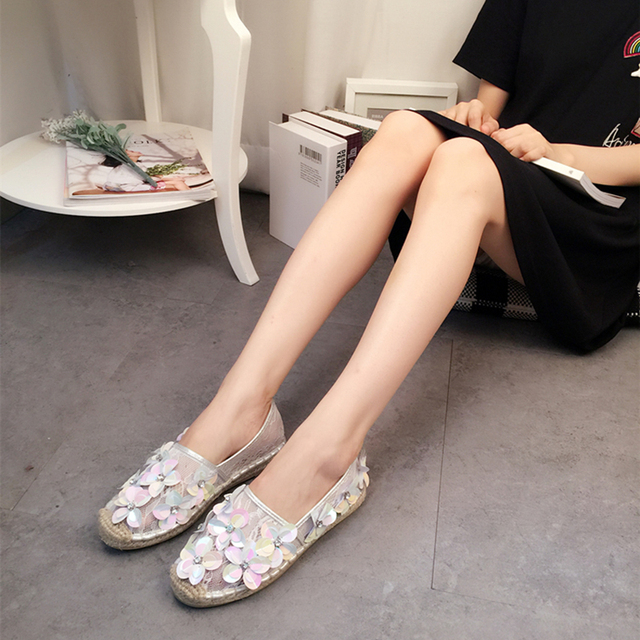 Handmade Camellia Flat Fisherman Shoes Ladies Spring Summer Lace Breathable  Loafers Women Crystal Flower Flats Mocasines mujer 355ab14de816
